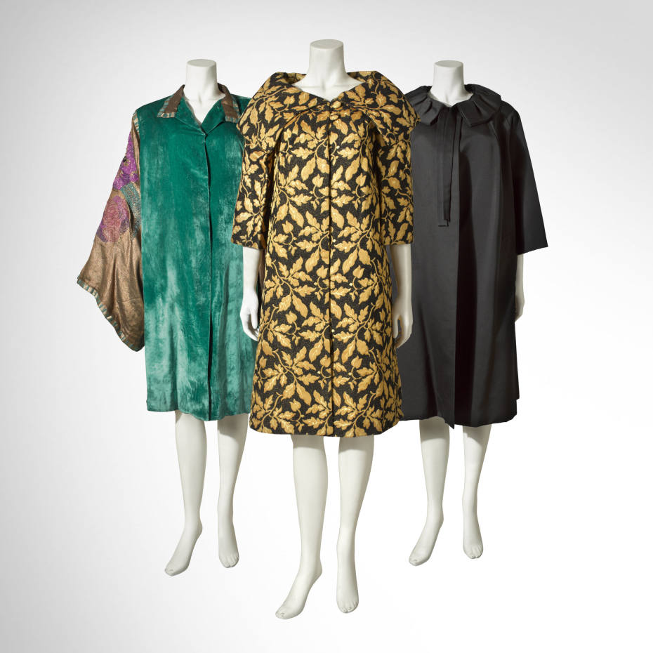 From left: Maison Worth c1924 embroidered velvet coat, estimate £800-£1,200, from Kerry Taylor Auctions. 1960s brocade swing coat, $550, from Park Avenue Couture on 1stDibs. Hardy Amies c1960 haute-couture satinised-cotton coat with silk lining, £975, from WilliamVintage