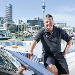 Sir Keith on Crystal Lady in Waitemata Harbour.