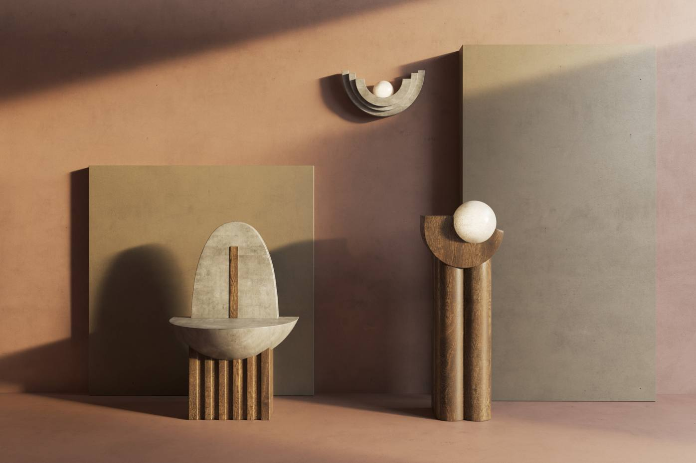 Terra, a sculptural trio including chair, floor and wall lighting, by Llewellyn Chupin