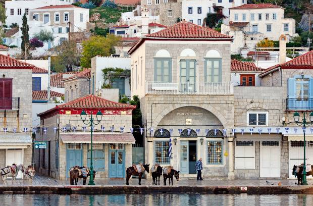 Mules replace cars on the Aegean island of Hydra
