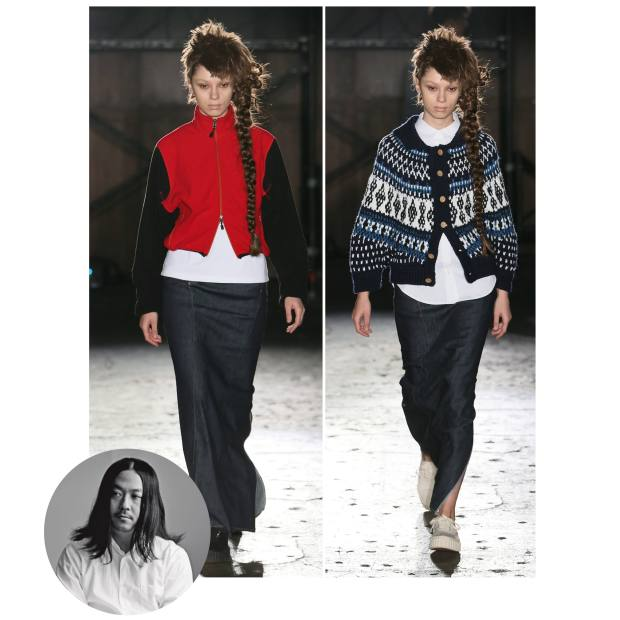 From left: Ganryu polyester jacket, £535, and cotton/denim skirt, £365; and wool/acrylic cardigan, £585, and cotton/denim skirt, £285
