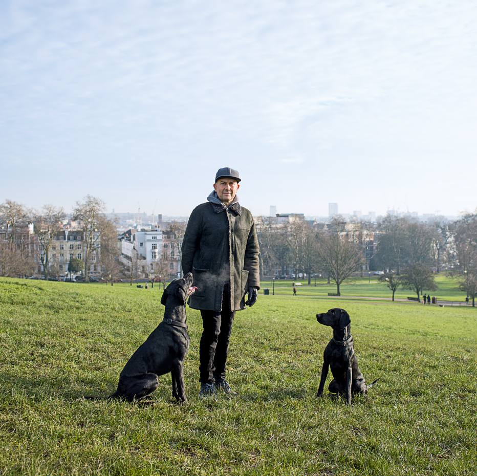 Artist Marc Quinn with his two dogs Buster and Jet on Primrose Hill