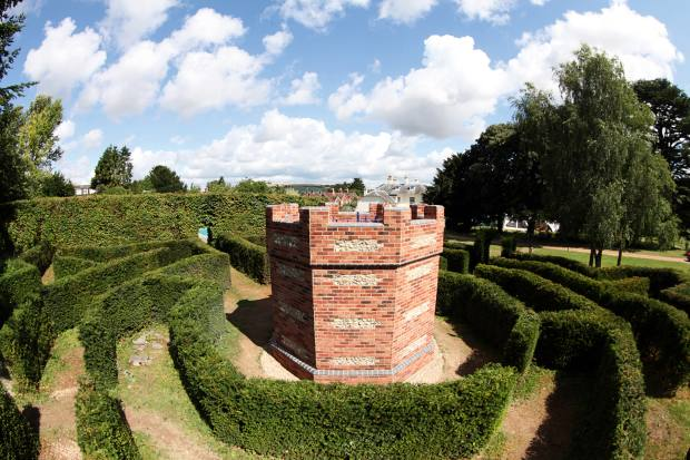 Thetower atthe heart of Adrian Fisher's octagonal yew-hedge maze at his home inDorset