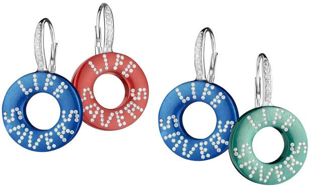 Suzanne Syz silver, enamel and diamond Life Saverearrings, from $10,000