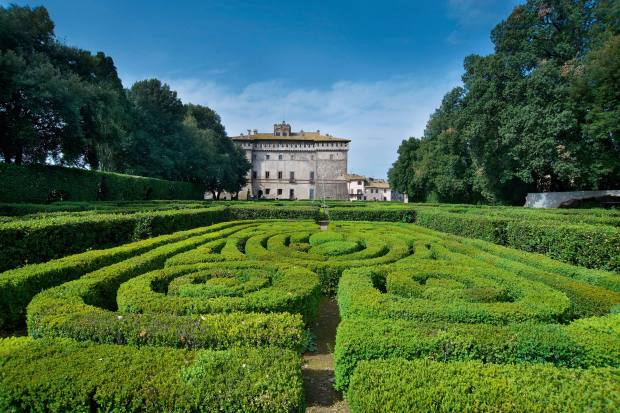 The elegant parterre hedge gardens at Castello Ruspoli, a former palace of the Farnese family