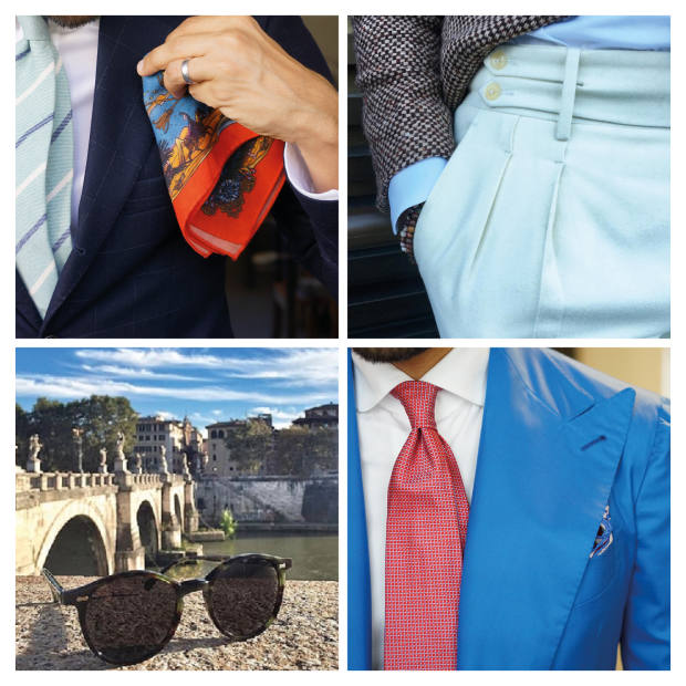 Clockwise from top left: Monsieur Fox pocket square and tie. Angel Bespoke trousers. Sciamat suit jacket, Cordone 1956 shirt and Finamore tie. The Bespoke Dudes sunglasses