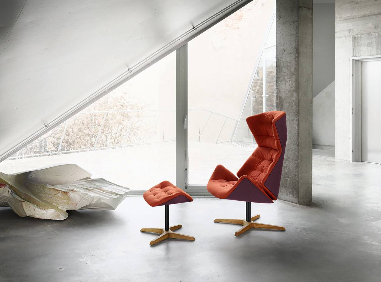Formstelle for Thonet wool, formed fleece and oak 808 lounge chair, from £3,400, and matching footstool, from £950
