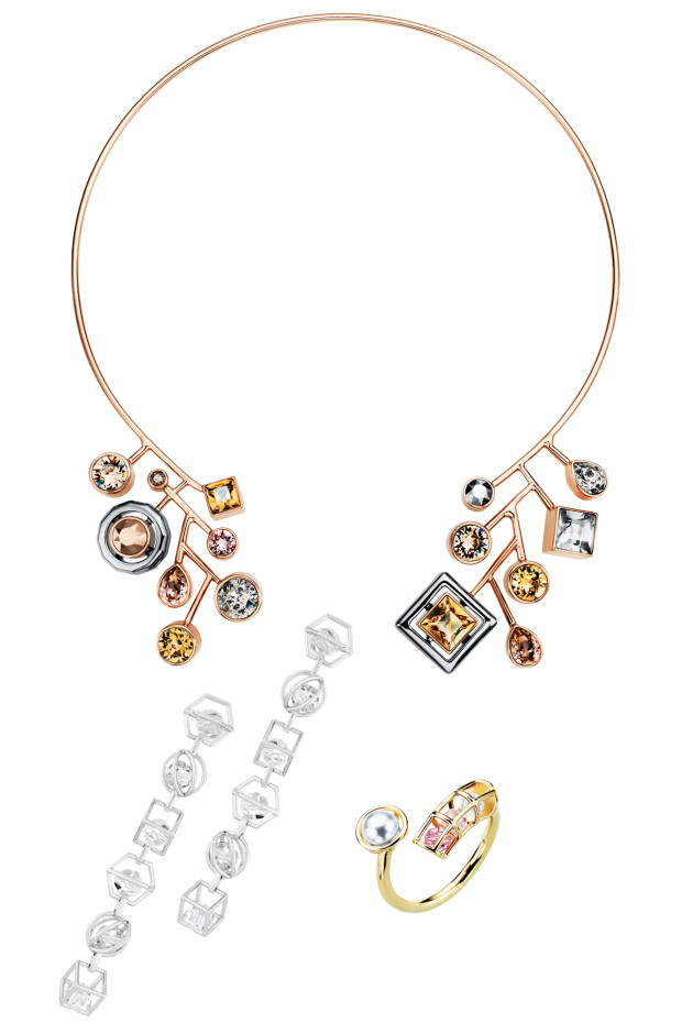 Atelier Swarovski x Peter Pilotto rose-gold-plate, ruthenium-plate and crystal Arbol choker, £349. Atelier Swarovski x Mary Katrantzou palladium-plate and crystal Nostalgia earrings, £349, and gold-plate and crystal ring, £149
