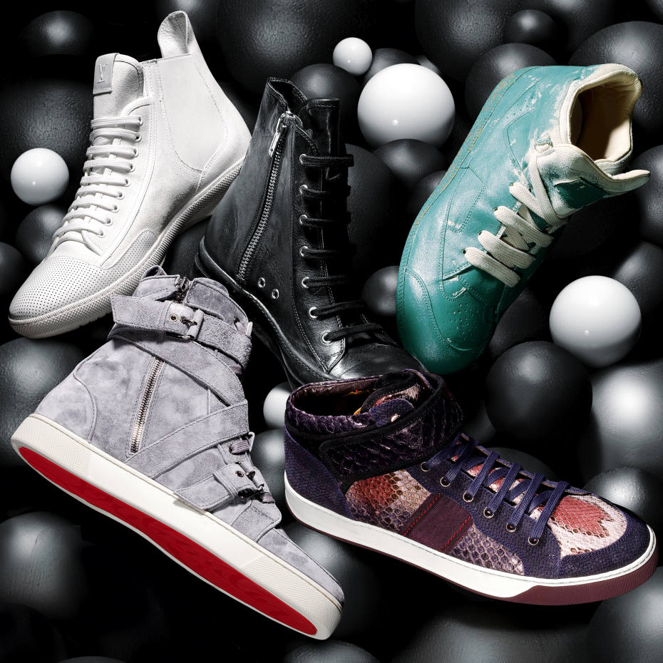 71eb681281d5 Clockwise from top left  Louis Vuitton suede Tao Sneaker Boots