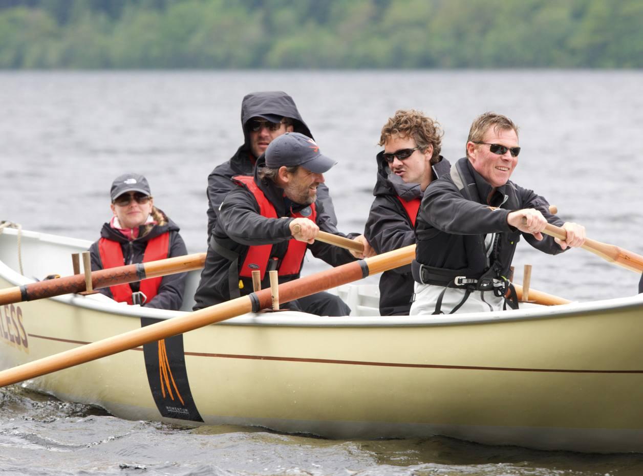 The team rowing across Loch Ness