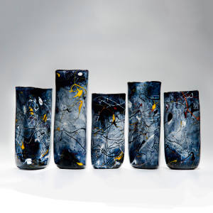 Peter Layton's glass Pollock-themed Triangular vases for the Royal Academy's Abstract Expressionism show, from £980