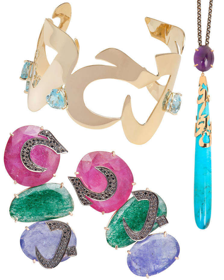 Clockwise from top: blue topaz and gold Hobb Hobi cuff, $5,000. Amethyst, turquoise and gold Oshq pendant, price on request. Ruby, iolite, green apatite and diamond Hobb earrings, $4,950