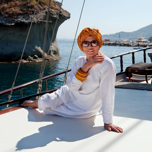 Anouska Hempel on her yacht Beluga, moored in Ischia