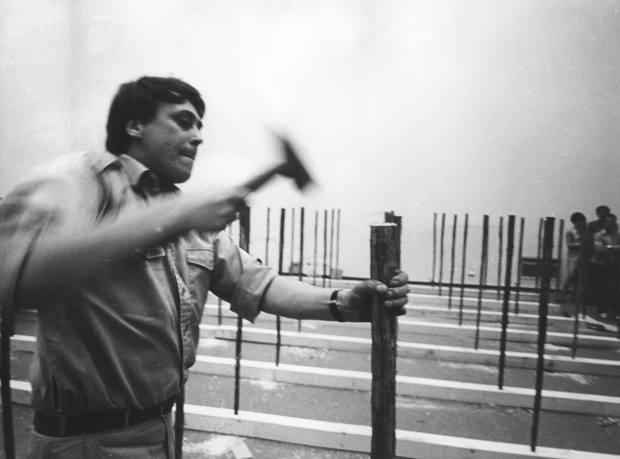 Günther Uecker at his Between exhibition at Kunsthalle Düsseldorf, 1969