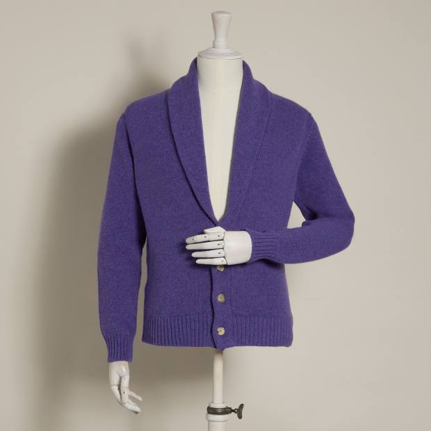 Anderson & Sheppard lambswool shawl-collar cardigan in violet, £325