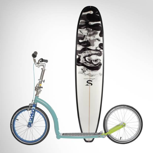 Swami's x Paul Smith surfboard, £1,200. Paul Smith V Swifty scooter, £599