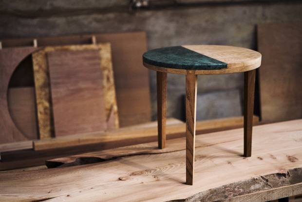 An oak and marble side table from their new Foresta collection, £774, from foresttohome.com