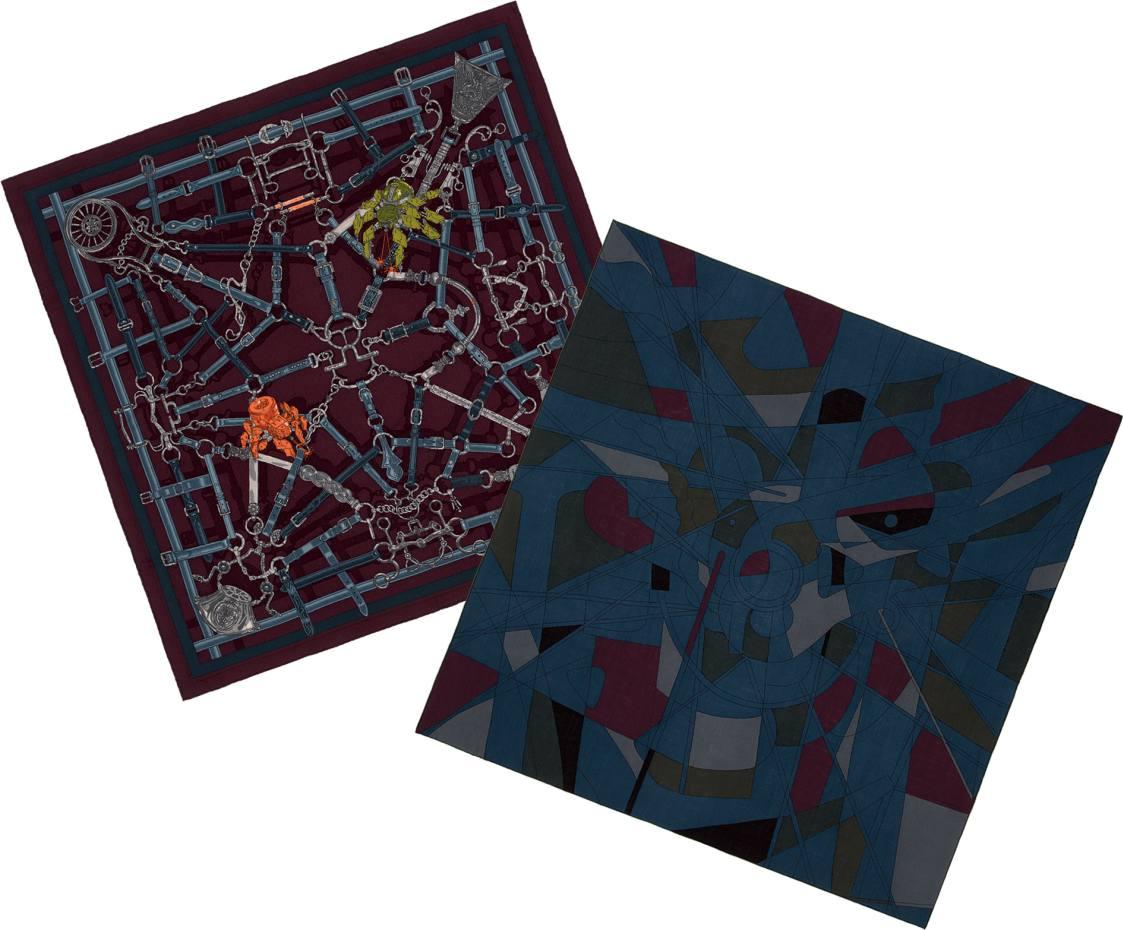 From left: cashmere/silk Flamboyant Web scarf, £540. Wool/silk Force Centrifugescarf, £530