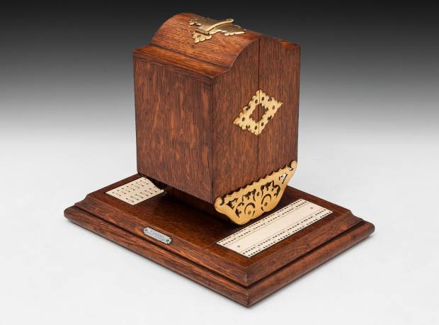 c1870 oak and brass cribbage box, £850, from Hampton Antiques