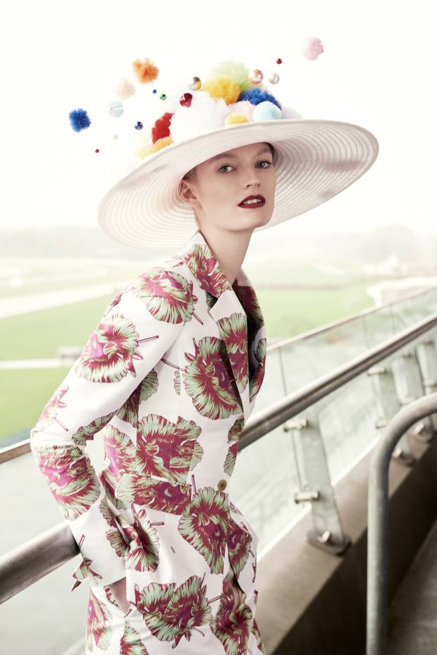 Altuzarra cotton Fenice jacket, £1,478, and matching Wilcox skirt, £820. Harvy Santos straw, tulle and pearlPom-tastic hat, £1,100,made to order
