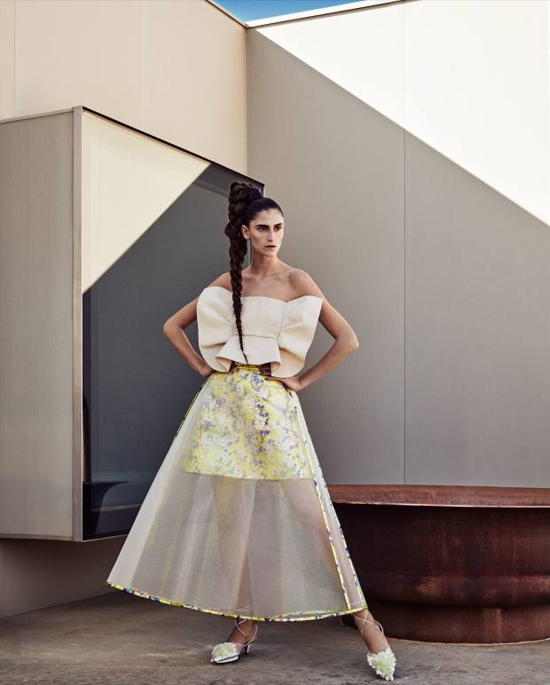 Delpozo linen bandeau, £1,250, lamé and crinoline skirt, £1,800, and embroidered PVC shoes, £810