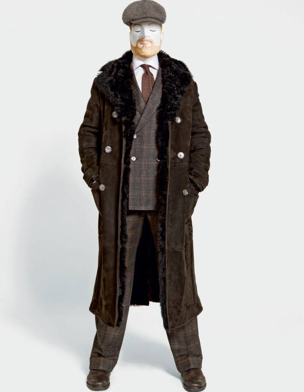 Caruso shearling coat, £4,000, and wool suit, £1,450