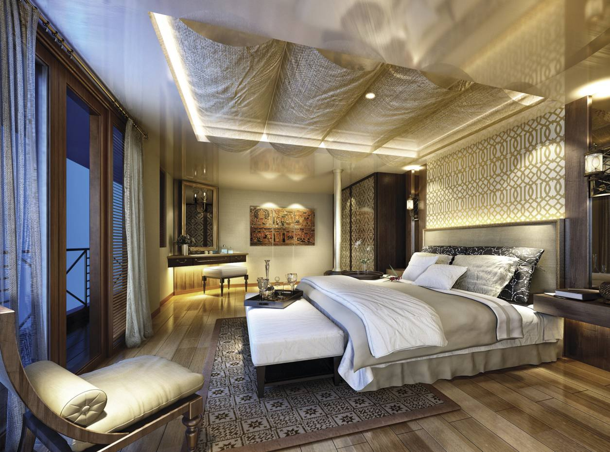 The design of one of the suites aboard the Myanmar-bound Sanctuary Ananda