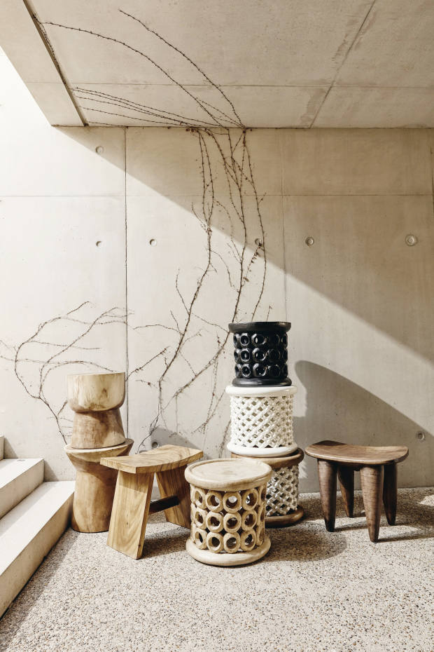 Khayni Bamileke and Donut stools (front and stacked), from £620, and Senufo stool (farright), £640