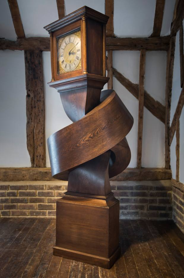 Alex Chinneck oak Growing Up Gets Me Down grandfather clock, $50,000 for edition from Priveekollektie