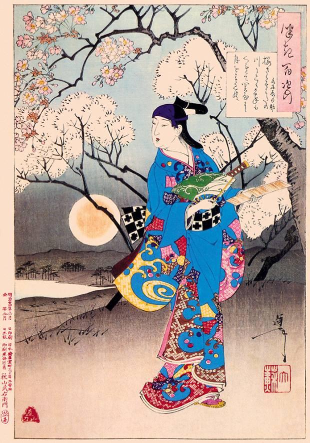 Cherry Trees Blossom, 1891, by Tsukioka Yoshitoshi