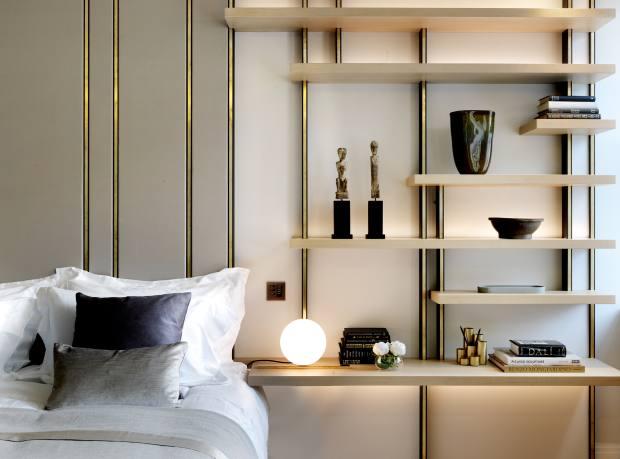 Design Haus Liberty satin, brass and oak headboard, from £17,040