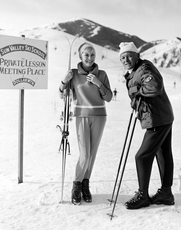Actress Janet Leigh and ski instructor Sigi Engl on the slopes of Bald Mountain
