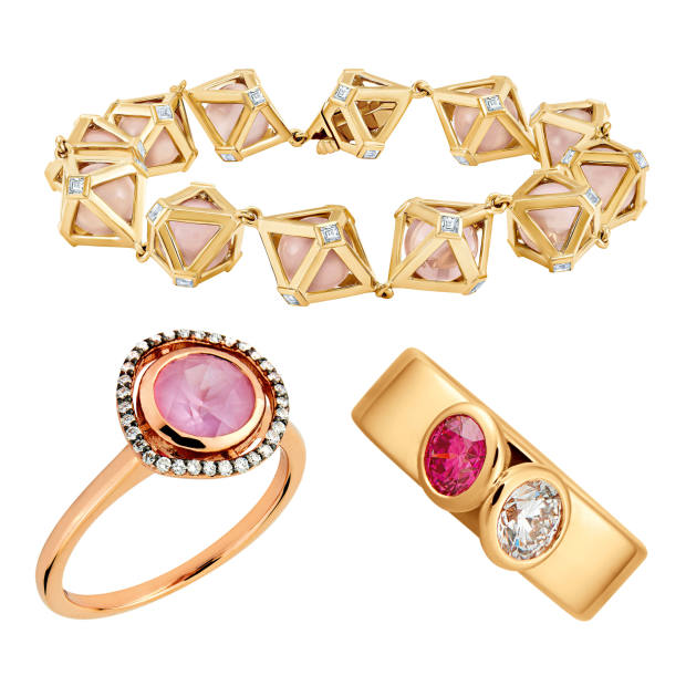 Clockwise from top: Atelier Swarovski by Stephen Webster 14ct recycled gold Double Diamond bracelet with diamonds and rose quartz, £6,490. Courbet recycled rose-gold ring with white and pink diamonds, €6,400. Lark& Berry 14ct rose-gold Dark Halo Sapphire ring with diamonds and sapphire, £575