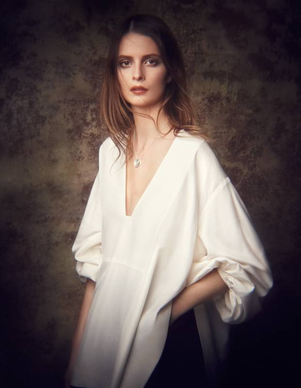 The Row silk-organza top, about £1,090, and cotton gabardine skirt, about £961. Wright & Teague silver Diabolo necklace, £210