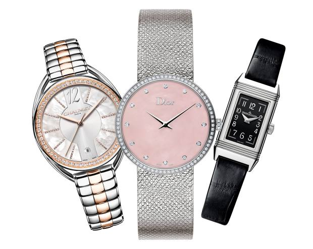From left: Chaumet rose gold, steel, diamond and mother-of-pearl Liens Lumière, £13,810. Dior steel, diamond and mother-of-pearl La D de Dior Satine, £6,400. Jaeger-LeCoultre steel Reverso One Réédition on alligator strap, £4,000