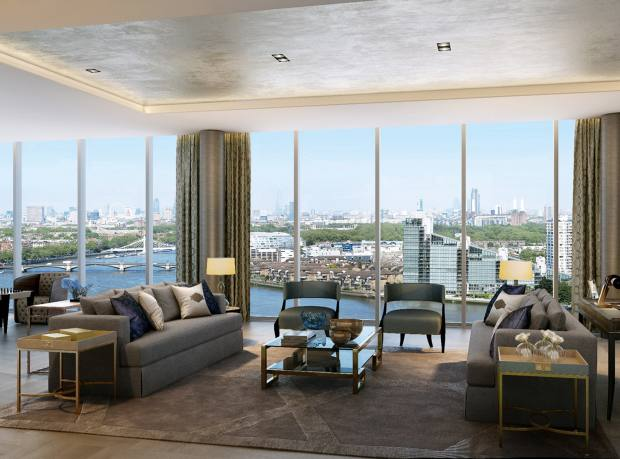 The six-bedroom penthouse at The Tower, Chelsea Creek, London, £16.95m through Knight Frank