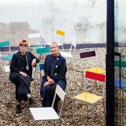 Veerle Wenes and collector Pascale Mussard atAntwerp gallery Valerie Traan, with Muller Van Severen Aluchairs, €529