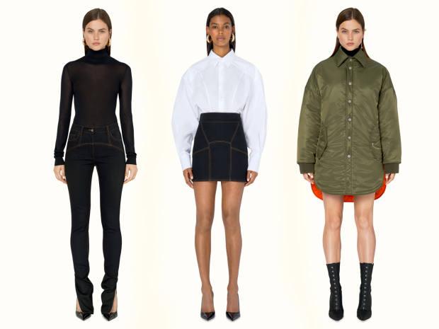From left: Fenty skinny pants in jet-black stretch Japanese denim, £460. Fenty corset shirt in poplin, £430.Fenty oversized padded jacket, £1,080