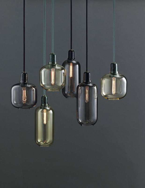 Normann Copenhagen marble and glass Amp pendant lights, £90 each