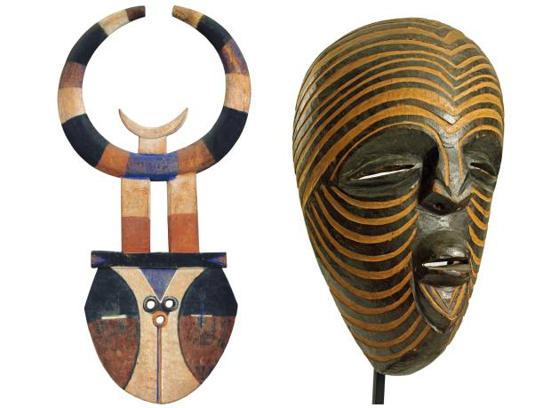 From left: Nafana Bedu mask from Ivory Coast, €85,000 from Entwistle. 1920s Luba Kifwebe house mask from the Democratic Republic of Congo, £12,000 from Tribal Gathering London