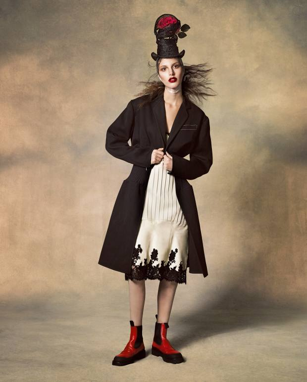 Céline grain de poudre coat, about £2,250, leather and lace dress, about £2,290, and calfskin Country ankle boots, about £680. Stephen Jones straw and silk top hat, £1,200