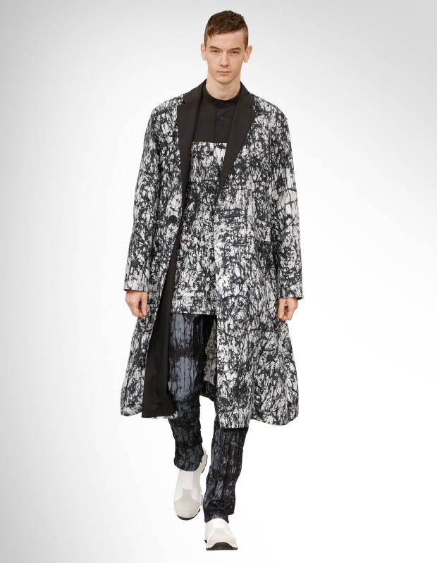 Issey Miyake Men batik coat, £1,425, batik shirt, £750, batik denim trousers, £530, and leather Side-Gore trainers £425