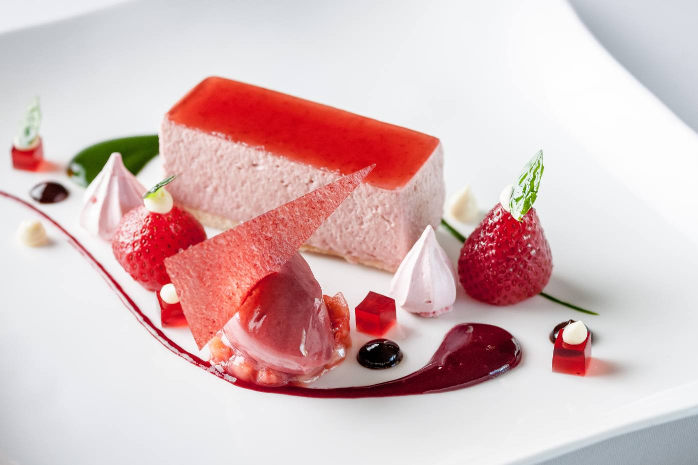 Strawberry mousse, sweet basil purée, strawberry jelly and strawberry sorbet
