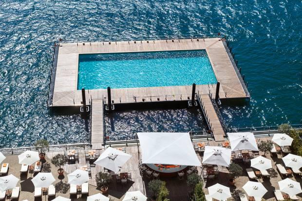 The hotel's pool on Lake Como