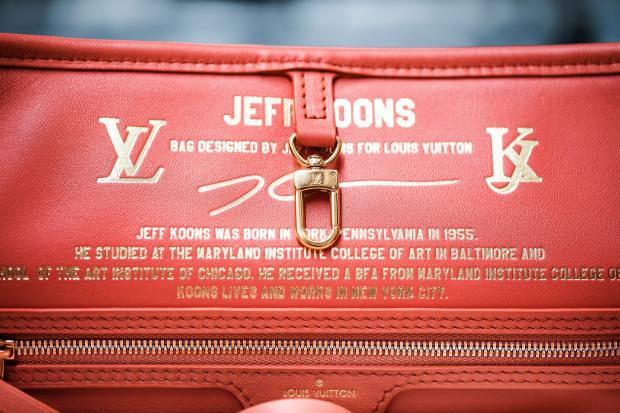 Inscription on the interior of the Neverfull MM, featuring a biography of designer Jeff Koons, and detailing the collaboration