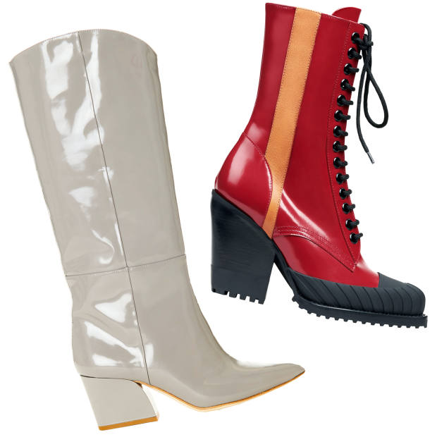 From left: Tibi spazzolato leather boots, £780. Chloé calfskin Rylee boots, £920