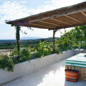 The master bedroom terrace at Villa Lovelli in Capalbio, Tuscany