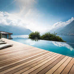 the 20m infinity pool at Villa Làrio, Lake Como, Italy.