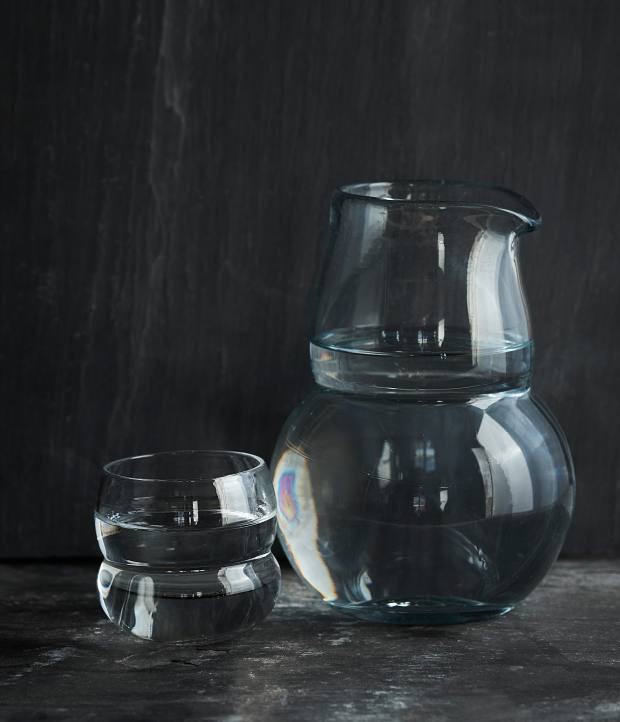 Nina Nørgaard x Mads Kleppe handblown glass carafe and set of four espresso cups, $700-$900