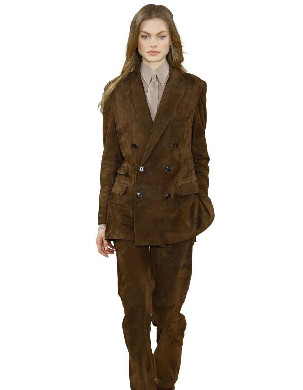 Ralph Lauren Collection suede jacket, £4,045, matching trousers, £2,720, silk shirt, £900, and matching tie, £147